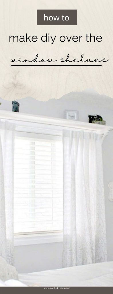 A wooden farmhouse style DIY shelf over the bedroom window. The shelves are white and hold grey and white curtain. The entire room is very neutral white and has assorted farmhouse decor accessories.