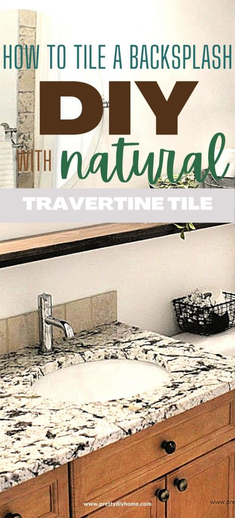 A small bathroom counter that has a new DIY tile backsplash, in a farmhouse style with natural stone. The bathroom is all browns, and creams.