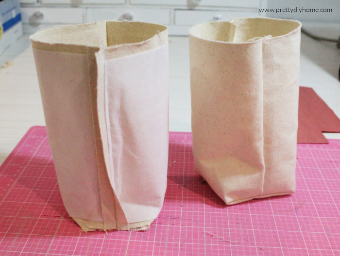 The completely sewn inner lining and outer casing of a DIY fabric baskets, its sewn in cream coloured duck cloth