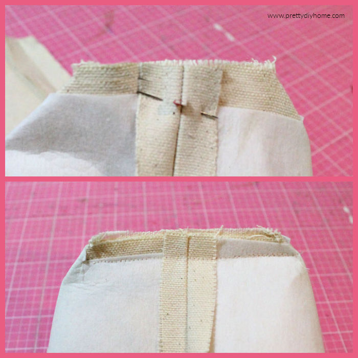 Two images showing how to pin and then sew the bottom seam of a Fabric basket.