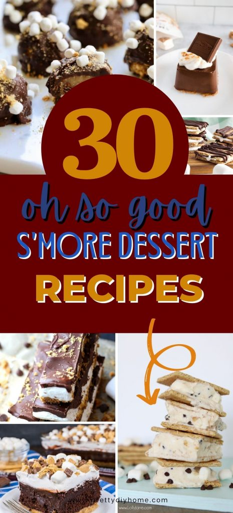 All sorts of S'more recipes whether you want easy to fancy. No bake S'more ide cream sandwiches, S'mores poke cake from a mix, no bake S'more candy and even S'more trifles.