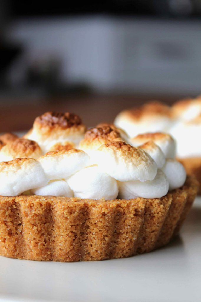 A tray of S'more tartlets with one centered inthe front.  The tartlet has a cookie crust and you cam see layers of just melted mini marshmallow kissed with little bits of graham cracker crumbs.