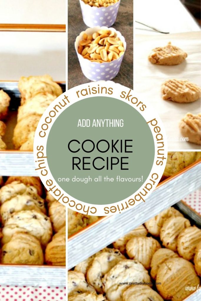 A collage of images showing Add anything cookies, some have peanut butter, or chocolate chips, or raisins, or caramel and pretzel cookies. They are laying in layers in a galvanized double layered tray for serving.
