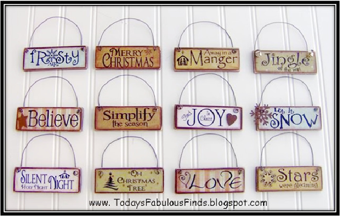 A collection of tiny Christmas tree signs that you can make using paint sticks