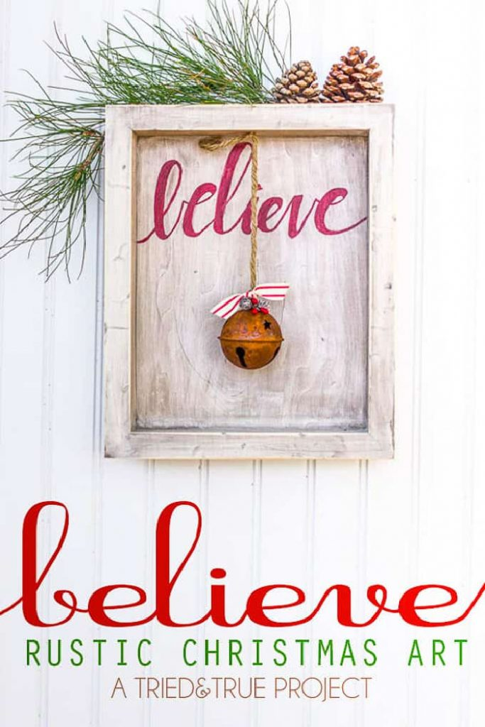 A rustic DIY believe Christmas sign with a fun antique bell hanging from the top as a focal point.