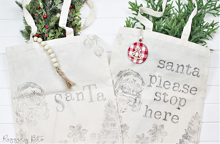 two hand stamped Christmas Santa Bags