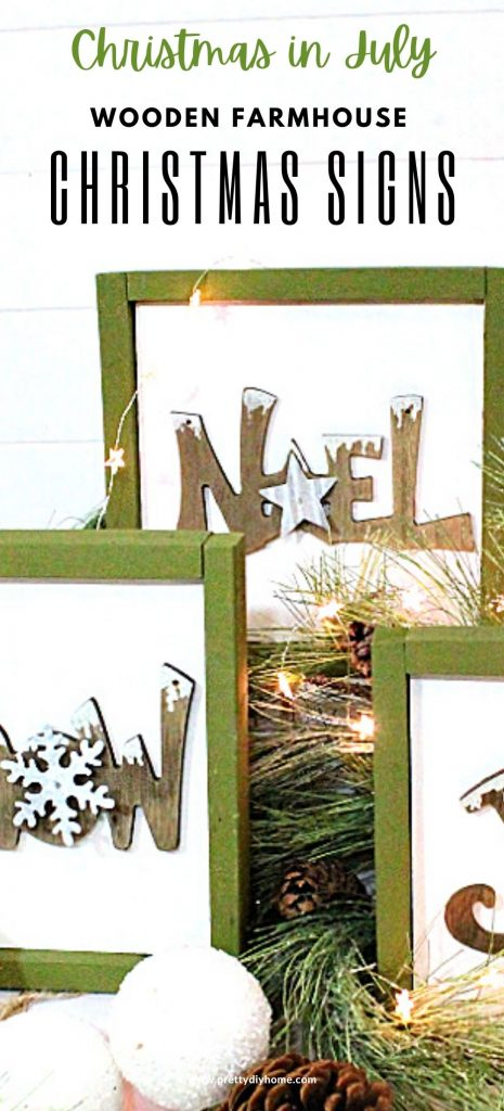 DIY Wooden farmhouse signs made with wood and upcycled Christmas ornaments. The Christmas signs say Noel, Joy, and Snow, they have green frames, white backgrounds and are surrounded by greenery, pinecones and snowball ornaments.
