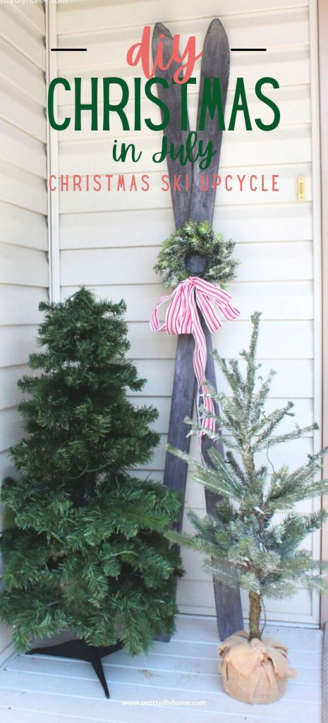 A pair of thrift store skiis is made over to look like antique wood skiis. The skis are part of a Christmas small front porch decor ideas for Christmas