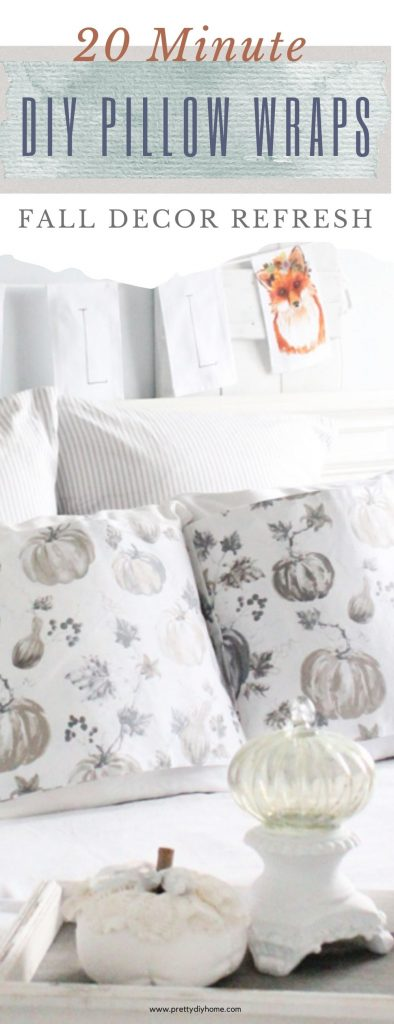 Two neutral Fall DIY pillow sleeves in greys and browns. The pillow sleeves are sitting on a farmhouse bed with pumpkins at the foot.