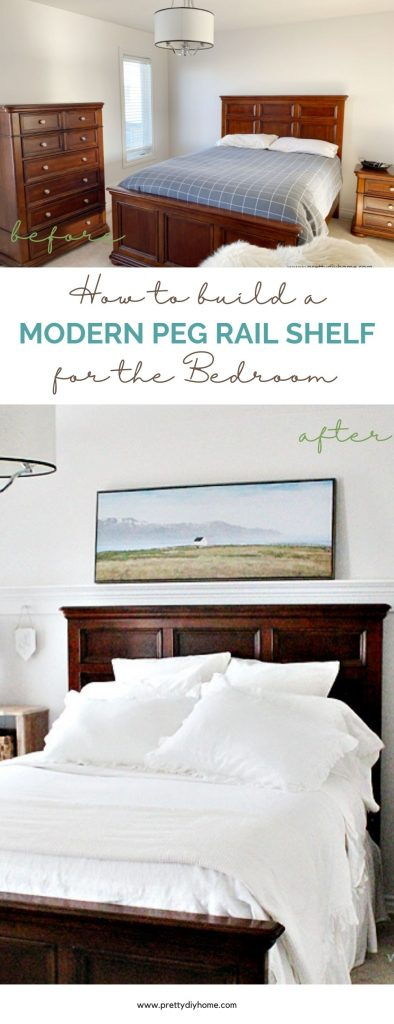 The before and after of a bedroom refresh with featuring a modern diy peg rail shelf. The shelf is painted white, made using moulding, and is a picture ledge for artwork above the beds headboard.