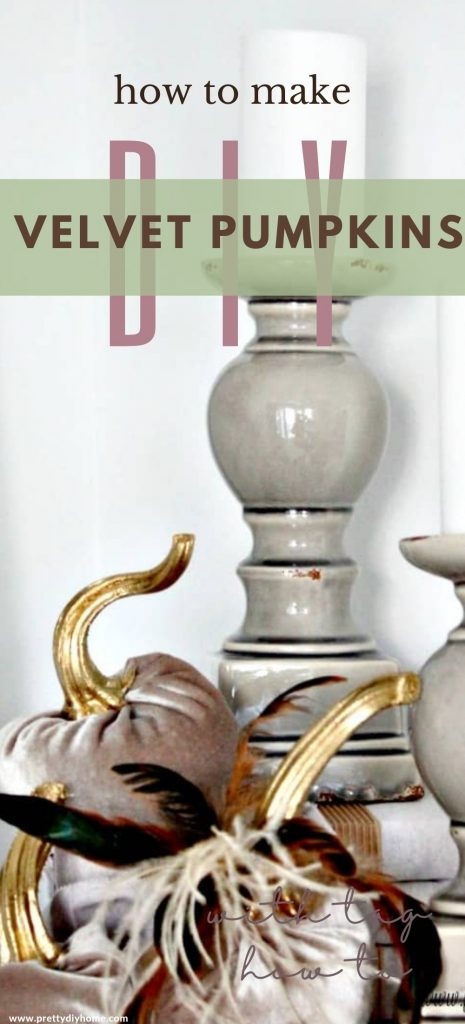 Elegant velvet pumpkins with metallic gold stems and feathers. An easy DIY Fall home decor craft idea.