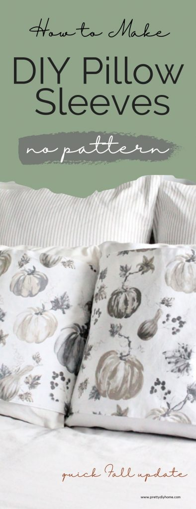 Two DIY Pillow sleeves in browns, greys, creams and white neutral Fall colours. The two cushion wraps are sitting on a farmhouse bed, with ticking covered cushions in the background.