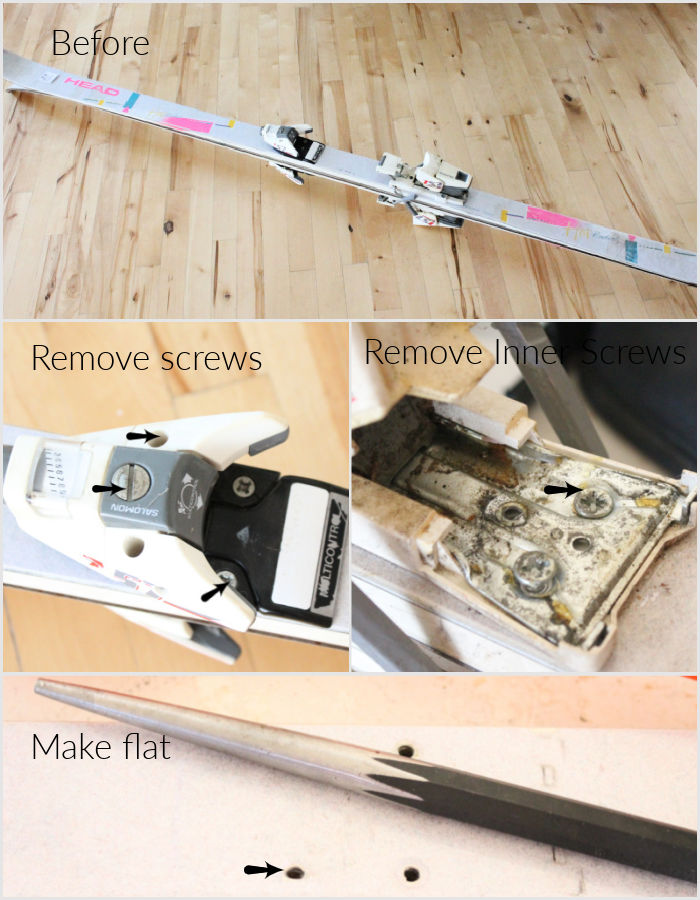 How to remove hardware from skis, and repurpose them as Christmas decorations.