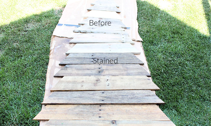 Staining pallet wood for making a DIY Pallet Christmas tree for outdoors