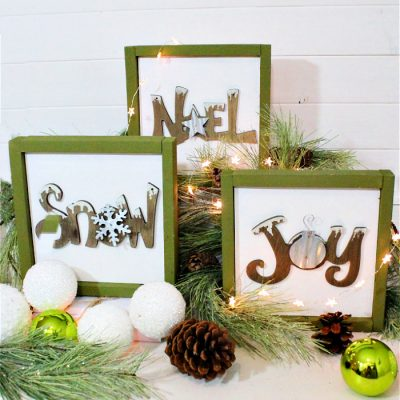 Making a DIY Farmhouse Christmas Sign from Upcycled Ornaments