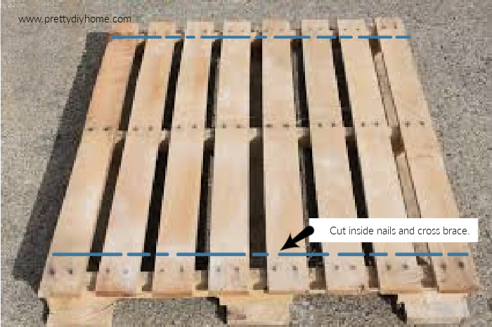 A wood pallet showing where to cut the pallet to remove the wood.
