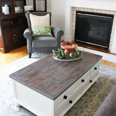 Veneer Coffee Table Greige Makeover with Stain and Paint