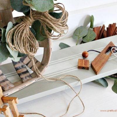DIY Farmhouse Table Riser with Grain Stripes and Eucalyptus Green Paint