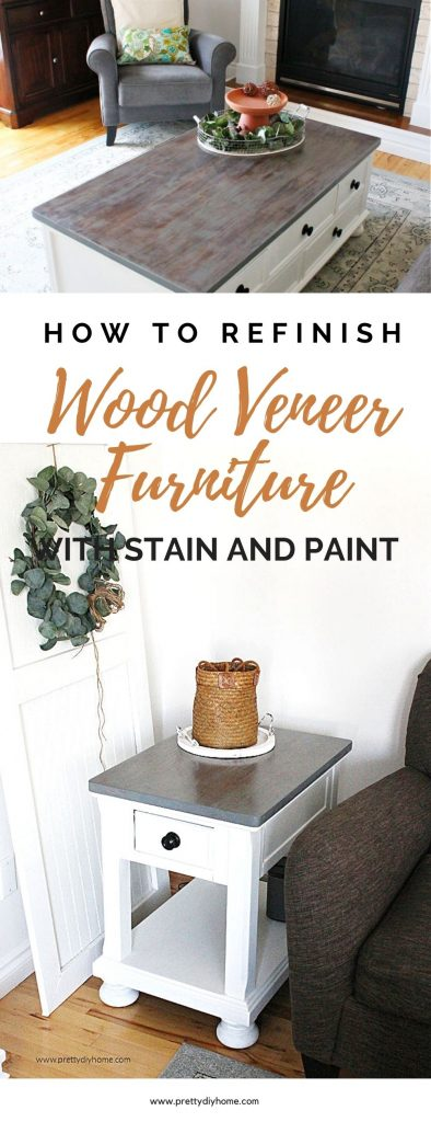 A refinished farmhouse style end table with white legs and a greige sandstone style wood top. The end table is sitting beside a farmhouse door, and a dark grey couch, and has a pretty dark rust coloured basket on top.